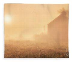 Early Foggy Morning On The Farm Fleece Blanket