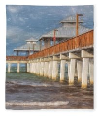 Early Morning At Fort Myers Beach Fleece Blanket