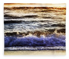 Early Morning Frothy Waves Fleece Blanket