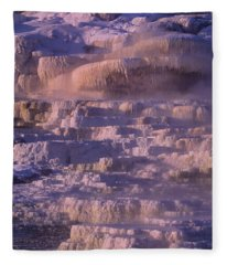 Early Morning Light On Minerva Springs Yellowstone National Park Fleece Blanket