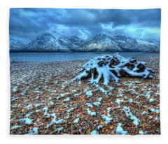 Early Snow On The Tetons Fleece Blanket