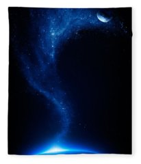 Earth And Moon Interconnected Fleece Blanket