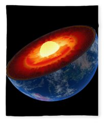 Earth Core Structure To Scale - Isolated Fleece Blanket