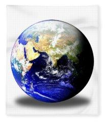 Earth Globe East Shadow Fleece Blanket
