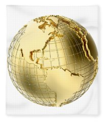 Earth In Gold Metal Isolated On White Fleece Blanket