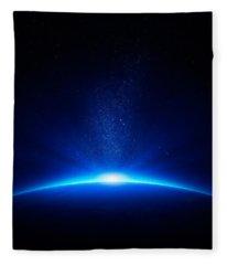 Earth Sunrise In Space Fleece Blanket