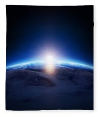 Earth Sunrise Over Cloudy Ocean  Fleece Blanket