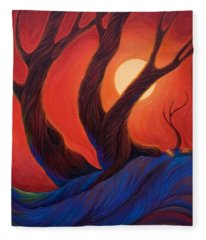 Fleece Blanket featuring the painting Earth  Wind  Fire by Sandi Whetzel