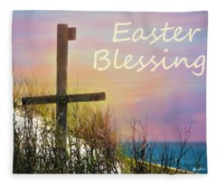 Easter Blessings Cross Fleece Blanket