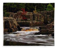 Waterfall Under Colored Leaves Fleece Blanket