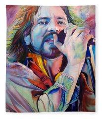 Eddie Vedder In Pink And Blue Fleece Blanket