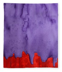 Edge Of The West Original Painting Fleece Blanket