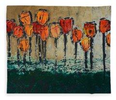Edgey Tulips Fleece Blanket