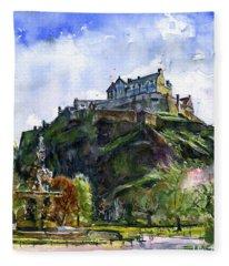 Edinburgh Castle Scotland Fleece Blanket