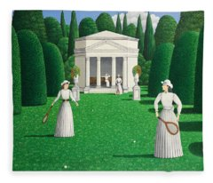 Edwardian Ladies Playing Tennis, 1978 Acrylic On Linen Fleece Blanket