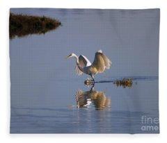 Egret Reflections Fleece Blanket