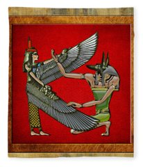 Egyptian Gods Anubis And Nut Fleece Blanket