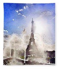 Eiffel During Summer Fleece Blanket