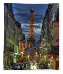 Eiffel Over Paris Fleece Blanket