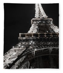 Eiffel Tower Paris France Night Lights Fleece Blanket