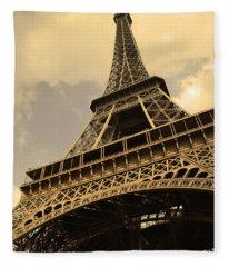 Eiffel Tower Paris France Sepia Fleece Blanket