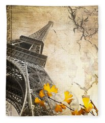 Eiffel Tower Vintage Collage Fleece Blanket