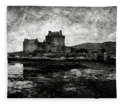 Eilean Donan Castle In Scotland Bw Fleece Blanket