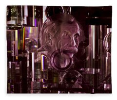Einstein In Crystal - Purple Fleece Blanket