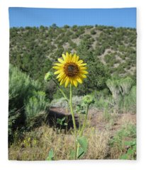 Elated Sunflower Fleece Blanket