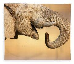 Elephant Drinking Fleece Blanket