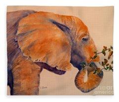 Elephant Eating Fleece Blanket