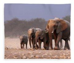 Elephant Herd Fleece Blanket