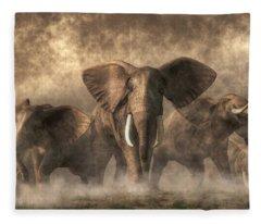 Elephant Stampede Fleece Blanket