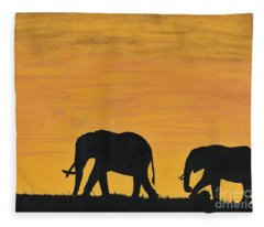 Elephants - At - Sunset Fleece Blanket