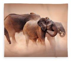 Elephants In Dust Fleece Blanket