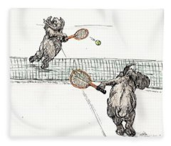 Elephants Playing Tennis Fleece Blanket