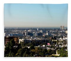 Elevated View Of City, Los Angeles Fleece Blanket