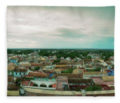 Elevated View Of Townscape Fleece Blanket