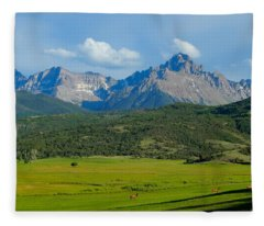 Elk Below Mount Sneffels Fleece Blanket