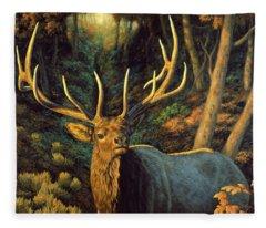 Elk Painting - Autumn Majesty Fleece Blanket
