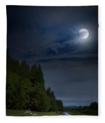 Elk Under A Full Moon Fleece Blanket