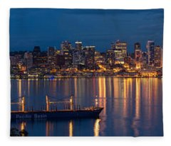 Elliott Bay Seattle Skyline Night Reflections  Fleece Blanket