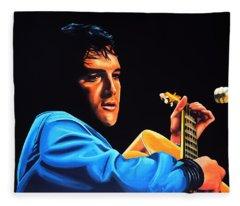 Elvis Presley 2 Painting Fleece Blanket