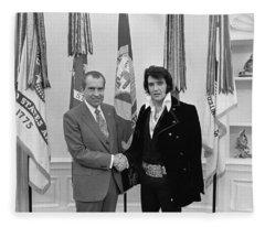 Elvis Presley And Richard Nixon-featured In Men At Work Group Fleece Blanket