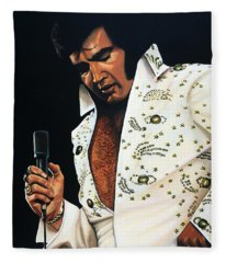 Elvis Presley Painting Fleece Blanket