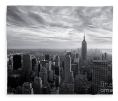 Empire State Building And Midtown Manhattan Black And White Fleece Blanket