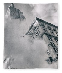 Empire State Building And Steam Fleece Blanket
