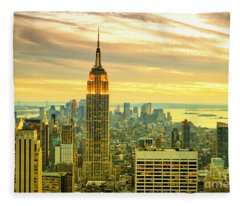 Empire State Building In The Evening Fleece Blanket