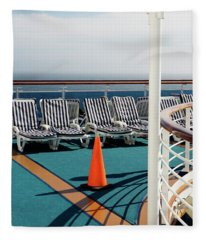 Empty Lounge Chairs On A Cruise Ship Fleece Blanket