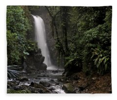 Encantada Waterfall Costa Rica Fleece Blanket